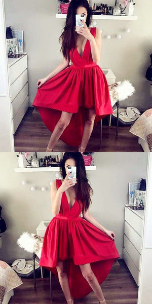 A-Line Deep V-Neck Sleeveless High Low Red Homecoming Dress   S150