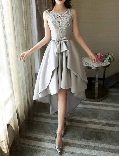 Grey Satin And Lace High Low Party Dress, Round Neckline Charming  Homecoming Dress   S1519
