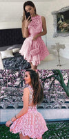 Lace Homecoming Dresses, Princess Homecoming Dresses, Short Pink Homecoming Dresses, Chic Homecoming Dress  S151