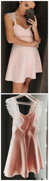 A-Line Spaghetti Straps Short Pink Homecoming Dress S1534