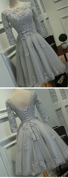 Half Sleeve Silver Tulle with Lace Appliqued Short Prom Dresse  S153