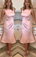 O Neck Sheath Midi Wedding Party Dress Pink  Homecoming Dress  S1545