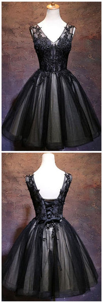 Black V Neck Lace Short  Homecoming Dress  S1557