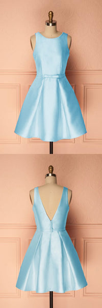 A-Line Crew Short Blue Satin Homecoming  Dress with Pleats S1561