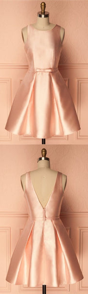 A-Line Crew Short Pearl Pink Satin Homecoming Dress with Pleats S1562