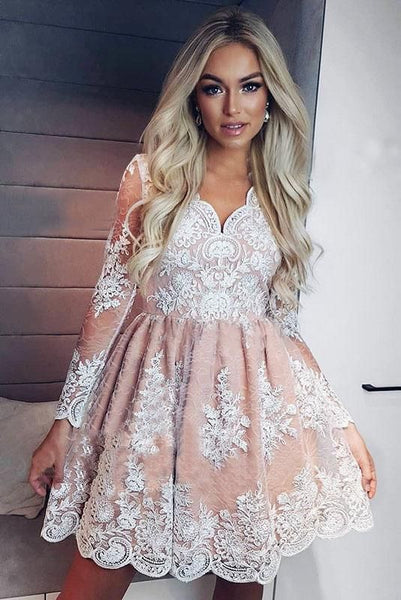 Cute A-Line V-neck Long Sleeves Short Homecoming Dress with Lace Appliques   S1563