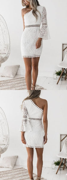 White One Shoulder Cut Out Detail Flare Sleeve Lace Mini Dress S156