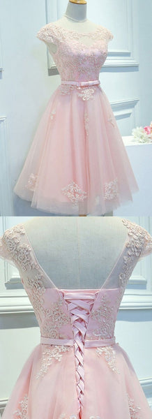 Princess Party Homecoming Dresses Short Pink Dresses With Lace    S1572