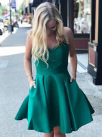 Green Homecoming Dresses  Cocktail Dress with Straps,Homecoming Dress with Pockets  S1576