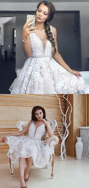 Elegant Lace Homecoming Dress with Beading,Simple Homecoming Dresses,Cheap Homecoming Dress  S1578
