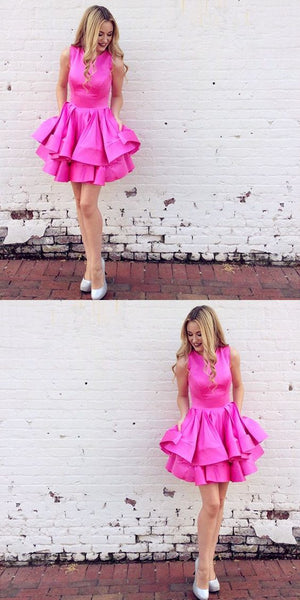 Tiered Round Neck Fuchsia Short Homecoming Dress With Ruffles S1586