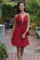 Sexy Cocktail Dress,Red Chiffon Homecoming Dress   S1588