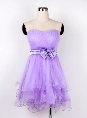 Lovely Lavender Sweetheart Teen Formal Dress with Bow, Cute Short Homecoming Dress  S1600