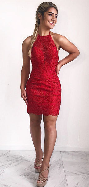 Sexy Halter Short Red Lace Homecoming Dress  S1604