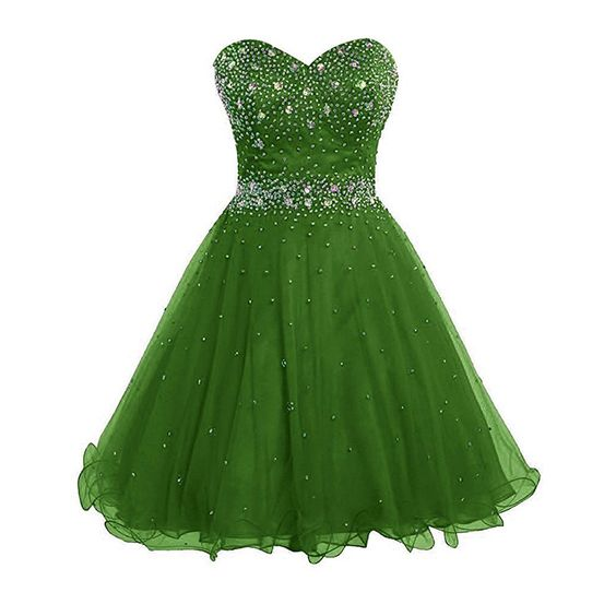 Mini Tulle Green Homecoming Dress Short Beaded Women Party Dress   S1605