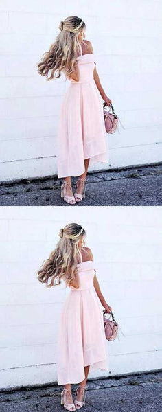 Simple A-Line Off Shoulder Pink Satin High Low Homecoming Dress   S1612
