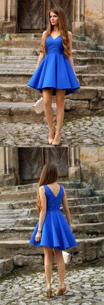 Simple A Line V Neck Open Back Royal Blue Short Dress, Cute Short Homecoming Dress   S1614
