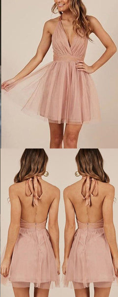 Halter Simple Blush Pink Tulle Ruched Homecoming  Dress    S1617