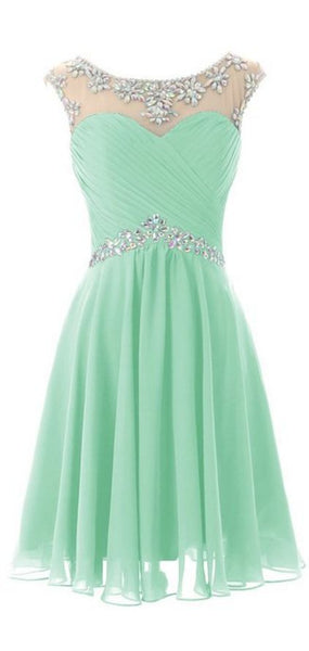 Light Green Homecoming Dresses, Knee Length Homecoming Dresses     S1620