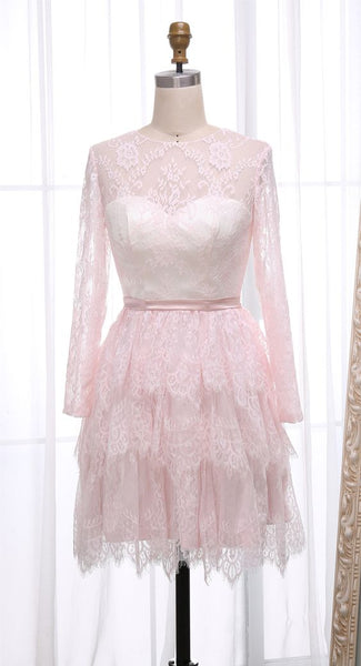 A-Line Round Neck Long Sleeves Short Tiered Pink Lace Homecoming Dress   S1630