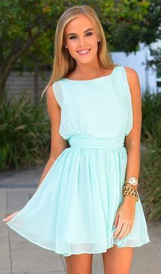 Mint Chiffon High Waist cheap homecoming  dress for girls S1634