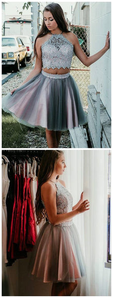 Sexy Two Pieces Halter Grey Tulle Cheap Homecoming Dresses S163