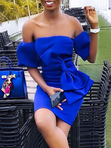 Bowknot Puff Sleeve Bodycon Dress ,Royal Blue Homecoming Dress S1641
