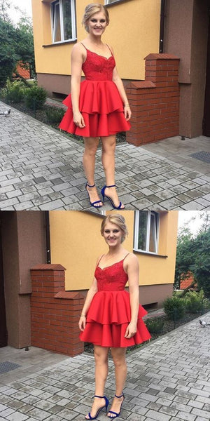 A-Line Spaghetti Straps Red Satin Short Homecoming Dress with Lace  S1644