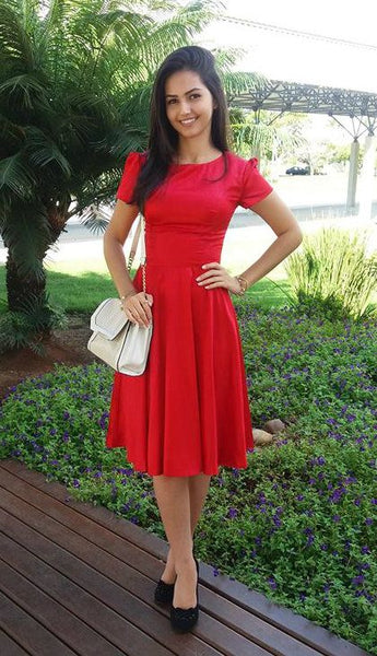 Red Stain Tea  Length Homecoming Dress  , Charming Homecoming Dress   S1646