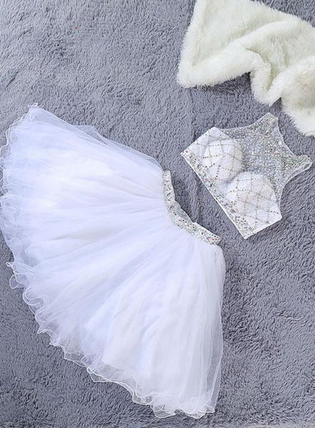 Lovely White Two Piece Beaded Tulle  Homecoming  Dresses  S1650