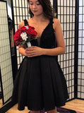 Black A-line Homecoming Dresses,Satin V-neck Cocktail Dress   S1656