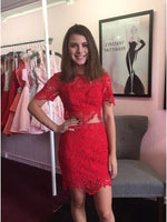 Two Piece Crew Short Sleeves Above-Knee Red Lace Homecoming Dress  S1657