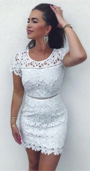Sheath Crew Short White Lace Homecoming  Dress S1659