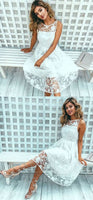 White Lace Short Sleeveless Party Dress,A-line Short Homecoming Dress  S1669