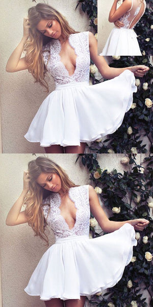 New Elegant Deep V Neck White Lace Short Party Prom  ,Short Homecoming Dress S166
