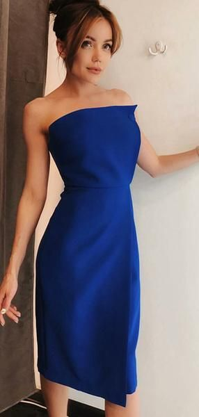 Sexy Sheath Strapless Royal Blue Knee Length Homecoming Dresses  S1672
