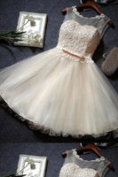 Luxurious Dresses Lace, Champagne Homecoming Dresses  S1673