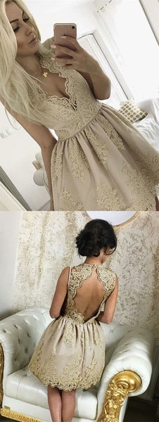 A-Line V-Neck Open Back Champagne Homecoming Dress With Appliques   S1676