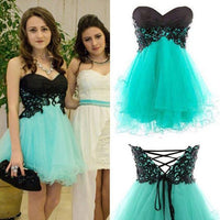 Simple A-Line Sweetheart Mini Blue Homecoming Dress with Appliques S1678