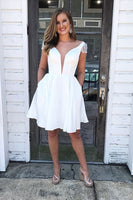 White Homecoming  Dress with Pockets , V Neck Homecoming  Dress     S1686