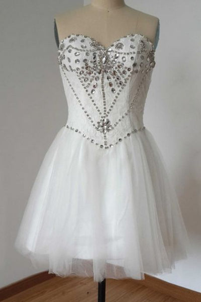 White Homecoming Dresses Open Back Sleeveless Beaded Knee-length Sweetheart Neckline    S1689