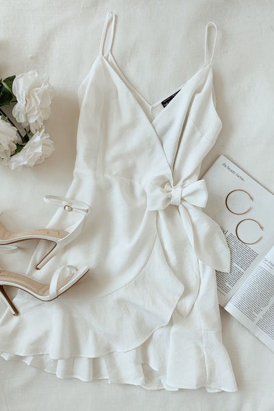 Ivory Ruffled Wrap Dress,Mini Homecoming Dress  S1696