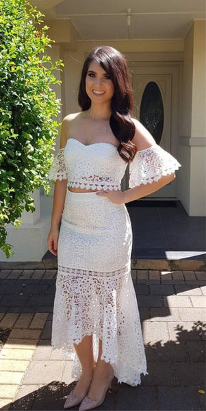 Two Piece Sweetheart Short Sleeves White Lace Homecoming Dress  S1697