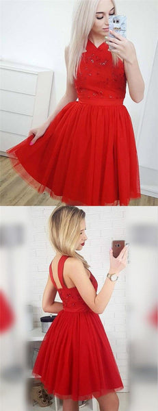 A-Line Cross Neck Short Red Tulle Homecoming Dresses with Sequins S169