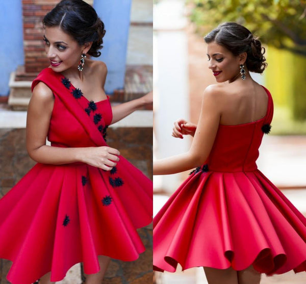 A-line One Shoulder Homecoming Dress Red Short Homecoming  Dress   S1700