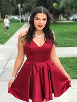 Burgundy Satin Homecoming Dress with Pockets  S1702