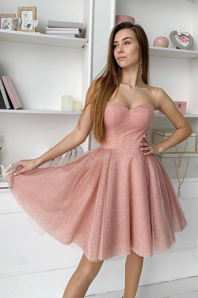 Sweetheart Dusty Pink Short Homecoming Dress S1706
