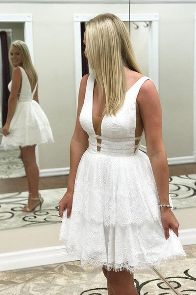 Short Homecoming Dresses , White Lace Homecoming Dresses S1707