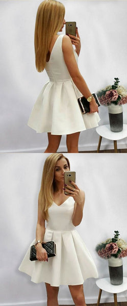 A-Line V-Neck White Satin Short Homecoming Dress with Pleats   S1712