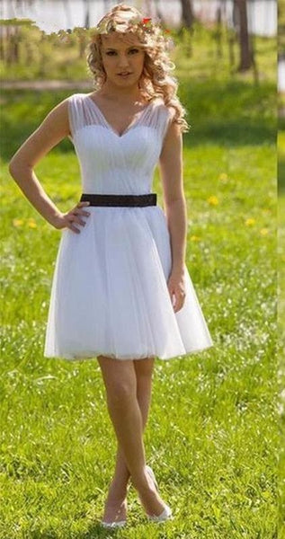 White Tulle Sexy Cheap Homecoming Dresses V Neck Ruched Homecoming Dress    S1713